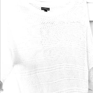 Express off the shoulder white knit sweater